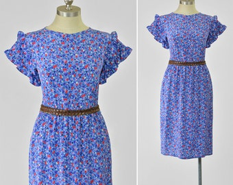 Vintage 80s Dress • Liberty Floral Silk Dress • Red Cornflower Blue Floral Dress • Ruffled Sleeve Dress • 1980s Dress • Secretary Dress S/M