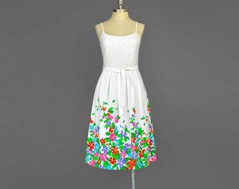 SALE - 60s Dress • Malia Dress • Floral Sundress • White Floral Dress • Luau Tiki Hawaiian Dress • Fit & Flare Cotton Dress • 1960s Dress