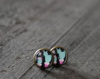 Clous d'oreilles - Stud earrings - Cactus - Noir - Vert - Rose - Coco Matcha