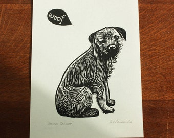 Border Terrier, Original Linocut Print, Open Signed Edition, Free Postage in UK, Hand Pulled, Printmaking,