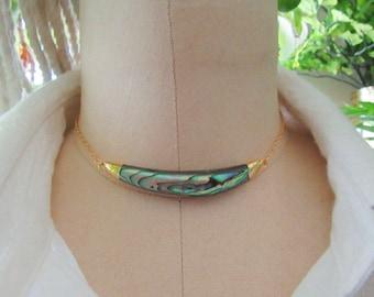 Abalone Shell Necklace, Abalone Choker Necklace, Abalone Jewelry, Boho Necklace, Choker Necklace, Bib Necklace, Women Gifts, Shell Jewelry