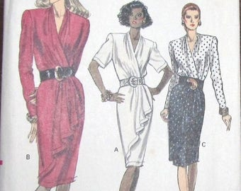 Vintage 1980s Very Easy Sewing Pattern Vogue 7558 Wrap Wrapped Dress with Drape Draped Skirt Women Miss Size 12 14 16 Bust 34 36 38 Uncut FF