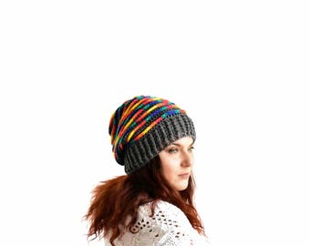 Gray slouchy beanie for woman rainbow spiral stripped slouchy hat oversized slouch beanie crochet hat gray slouch hat crochet beanie