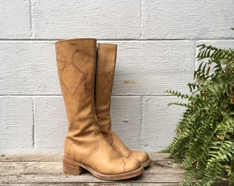 6.5 M | Women's Vintage Campus Boots Golden Brown Leather Boots with Side Zippers