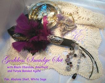 Goddess Smudge Fan / Set  - Embellished Feather Fan, Abalone Shell, California White Sage
