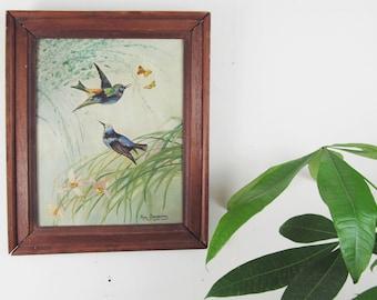 vintage painting,vintage oil on canvas,landscape painting,bird painting,wall decor,vintage oil painting,floral,dated,mid century modern art