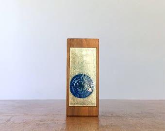 Vintage Wood / Enameled Candle Holder or Lighter Base Blue Starburst