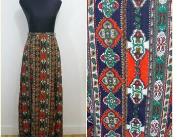 Funky Bohemian VINTAGE 1970s Art & Crafts Red Green Stripe Folk Maxi Skirt UK 10 FR 38