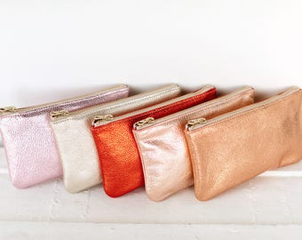 MAE Rose gold Clutch. Rose gold Leather Pouch. Metallic Rose Gold Leather Wallet. Small Rosegold Wedding Pouch. Bridesmaid Clutch