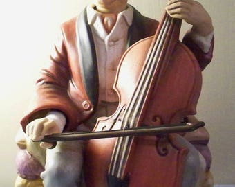 Vintage Melody In Motion Porcelain Cello Player Man With Cello Music Box