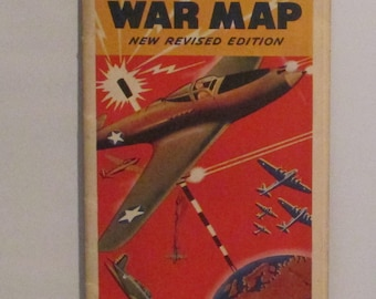 WWII Invasion Issue Global War Map Vintage Rand McNally World War Two WW2 Military Militaria European South Pacific Eastern Hemisphere Areas