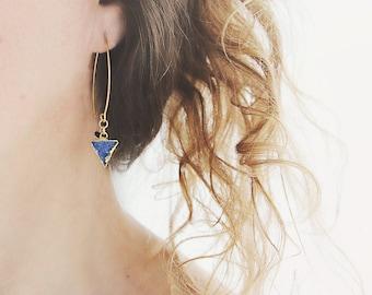 Blue Druzy Earrings - Modern Triangle Earrings - Druzy, Sapphire Jewellery For Her - September Birthday Gift - Blue and Gold Earrings