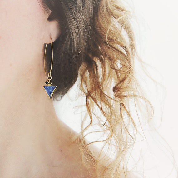 Blue Druzy Earrings - Modern Triangle Earrings