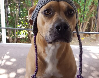 Crochet Dog Hat with Pom Pom Accent, Warm Dog Hat, Fur Baby Gift, Cute Dog Hat by Just For Doggy With Love - Heather Grey & Dark Orchid