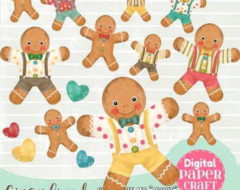 Gingerbread Clipart, Clipart Christmas, Christmas Gingerbread, Instant Download, Painted Gingerbread