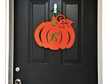 Monogram Pumpkin Felt Door Hanger, Initial, Fall Decorations, decor, wreath, custom, personalized, halloween, autumn jack-o-lantern