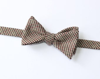 Houndstooth Wool Bow Tie~Wine & Gray Houndstooth Bow Tie~Mens Self Tie Bow Tie~Mens Pre-Tied~Anniversary Gift~HoBo Tie~Wedding~Wool Bow Tie~