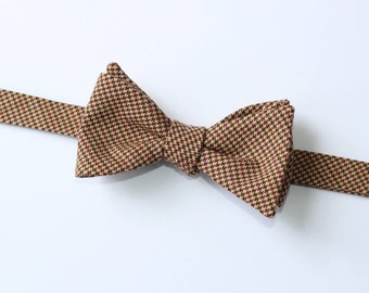 Houndstooth Wool Bow Tie~Wine & Tan Houndstooth Bow Tie~Mens Self Tie Bow Tie~Mens Pre-Tied~Anniversary Gift~HoBo Tie~Wedding~Wool Bow Tie~