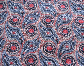 vintage FULL feed sack fabric -- red roses and navy floral print