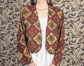 Cotton beaded jacket, Hippie jacket, checkered jacket, folk jacket, size medium, red and beige prints, autumn jacket, size medium to small
