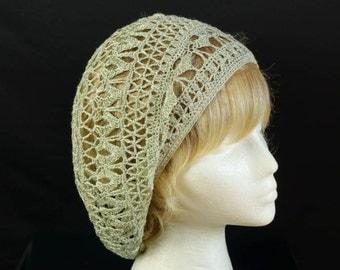 Women crochet beanie Summer boho hat Crocheted lace beret Cotton chemo cap Hipster slouchy berets Hand crochet mesh hat Bohemian summer tams