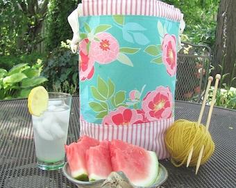 Knitting project bag, large drawstring crochet bag, Shawl knitting bag, Yarn storage bag in pink stripe ticking and aqua floral