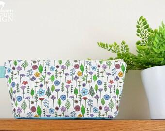 Wildflower Toiletry Wash Bag / Makeup Bag / Pencil Case / Zip Bag