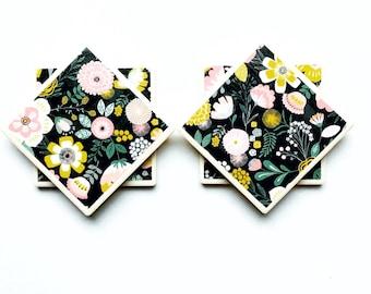 Floral coasters - black coasters - Tile Coasters - Pretty Coasters - pink decor - yellow decor - coaster set -