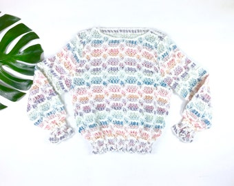 Vintage pastel rainbow sweater, 1970s rainbow striped sweater, retro chunky knit sweater, 70s pullover jumper, flared textured top