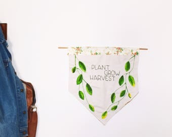 Vegan Wall Art Folk Art Wall Hanging | Plant Grow Harvest Embroidery | House Plant Botanical Embroidery | Embroidered Banner | Canvas Banner