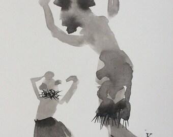 Original art ink drawing The Mudhead Kachina Dance