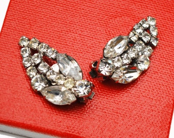 Clear Rhinestone earrings -  Floral Leaf - Clip on Earrings- Wedding Bride