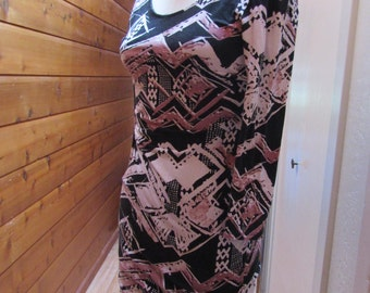 Vintage 1990's Cotton w/ Stretch Tribal Print Dress Criss Cross on Back Form Fitting Small to Medium
