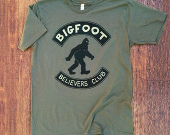 Kids Bigfoot Believers Club T-shirt, Sasquatch, Funny, Camping, Cryptozoology, Nerd, Weird, Tee Shirt, gifts for him, gifts for her, Kids