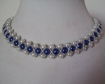 Cobalt Blue and White Beadwork Necklace Collar Choker Bib with Silver Bead Accents
