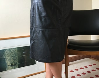 Vintage Italian Black Leather Skirt