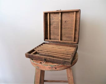 1960's Artist's Box, Hinged Wooden Tool Box with Latch, Rustic Distressed Painter's Storage Case