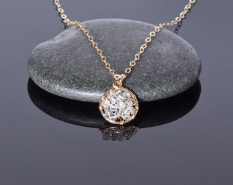 White topaz necklace in 14k gold fill wire   genuine November birthstone pendant necklace   simple birthstone charm jewelry