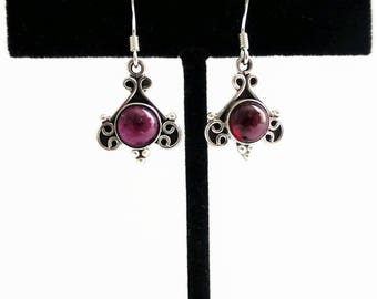 Sterling garnet drop earrings, unique earrings, ladies silver earrings, January birthstone earrings, unique earrings, gemstone drop earrings
