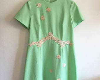 Mod Seafoam Green Retro 50s-60s Lace Embroidered Shift Dress Henry Lee Designer