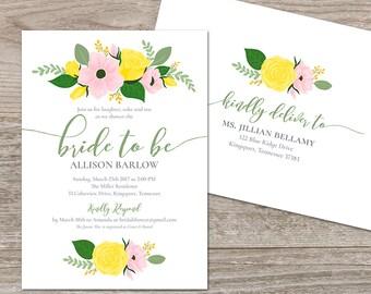 Instant Download Bridal Shower Invitation Roses // Yellow Bridal Invitation Template // Editable Bridal Shower Invite Floral