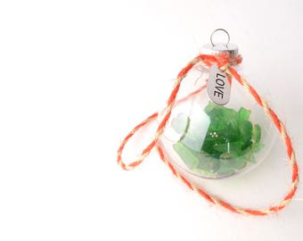 """LOVE - Rhode Island Green Sea Glass Filled 2"""" Clear Ball Christmas Ornament with Red and Tan Jute with a Silver Love Charm"""