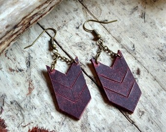 Recycled Leather Chevron Earrings In Maroon ~ Essential Oil Diffuser