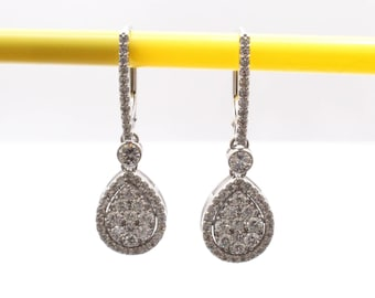 Earrings 14 k white gold with 1.26 ct diamonds