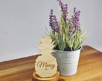 Pineapple Place Cards - Wood Place Cards - Table Setting - Table Decor - Custom Made - Laser Engraved - Free Engraving