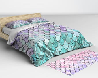 Mermaid Bedding - Comforters and Duvet Cover - Mermaid Decor - Available in Twin Full Queen and King Sizes Matching Pillow Shams Available