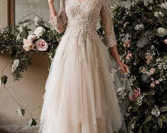 Champagne bohemian wedding dress, boho wedding dress, long sleeve wedding dress, destination wedding dress, beach wedding dress in tulle