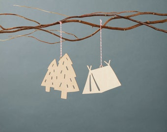 Camping Tent Tree Wooden Holiday Christmas Ornaments- Lasercut Birch (set of 2)