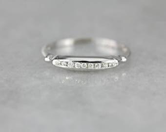 Vintage Diamond Channel White Gold Wedding Band 5H9MLJ-N