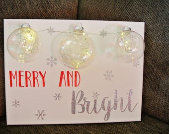 Merry And Bright Lit Christmas Wall Hanging
